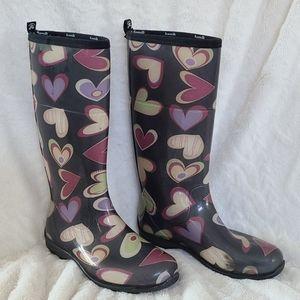 Kamik rain boots with hearts size 9